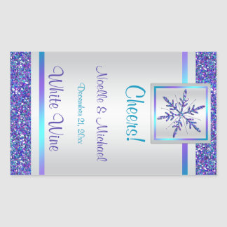 Purple Silver Glitter Snowflake Wedding Wine Label