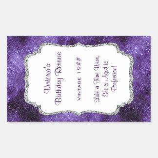Purple Silver Glitter Wine Bottle Label