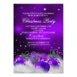 Purple Silver Gold Holly Baubles Christmas Party 2 Card