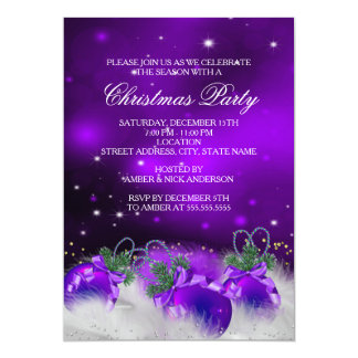 Purple Silver Gold Holly Baubles Christmas Party 2 5x7 Paper Invitation Card