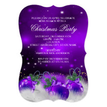 Purple Silver Gold Holly Baubles Christmas Party 2 Invitation