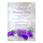 Purple Silver Gold Holly Baubles Christmas Party Personalized Announcements