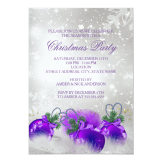 Purple Silver Gold Holly Baubles Christmas Party 5x7 Paper Invitation Card