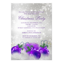 Purple Silver Gold Holly Baubles Christmas Party Invitation