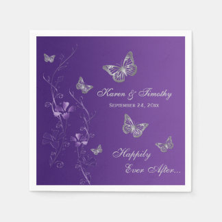 Purple Silver Gray Butterfly Floral Paper Napkins