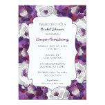 Purple silver gray floral bridal shower invites