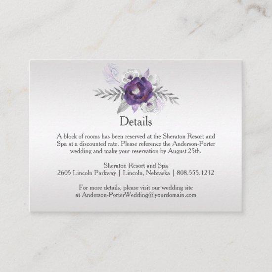 Purple Silver Gray Floral Detail Enclosure Cards