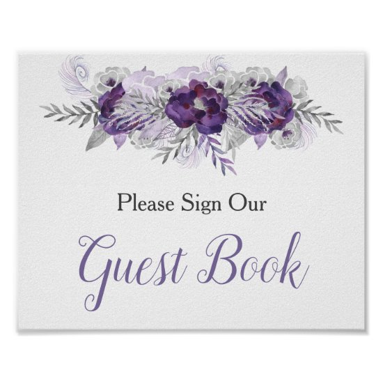 Purple Silver Gray Floral Guest Book Sign