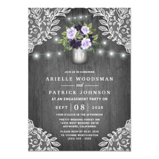 Purple Silver Gray Floral Rustic Engagement Party Invitation