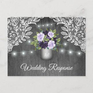 Purple Silver Gray Floral Rustic Jar Wedding RSVP Invitation Postcard