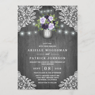 Purple Silver Gray Floral Rustic Mason Jar Wedding Invitation