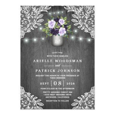 Purple Lavender Floral Boho Wedding Invitation