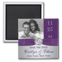 Purple, Silver Gray Floral Save the Date Magnet