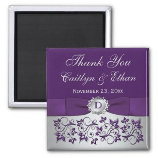 Purple, Silver Gray Floral Wedding Favor Magnet