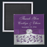 """Purple, Silver Gray Floral Wedding Favor Magnet<br><div class=""""desc"""">This monogrammed purple and silver grey floral thank you wedding favor magnet has a purple PRINTED ribbon and an ornate silver scrolled faux engraved medallion on it that match the wedding invitations shown below. If there are any other matching items you require,  please email your request to niteowlstudio@gmail.com.</div>"""