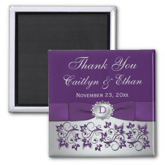 Purple, Silver Gray Floral Wedding Favor Magnet