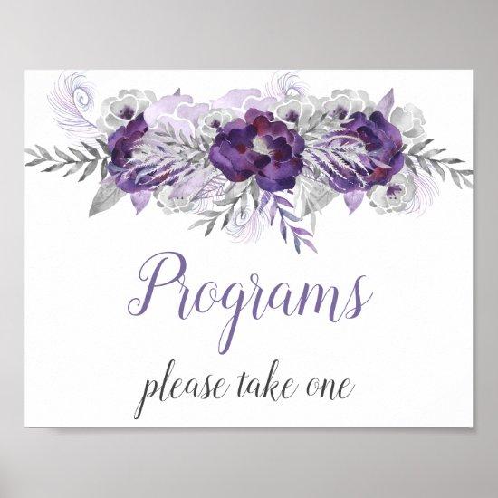 Purple Silver Gray Floral Wedding Programs Sign