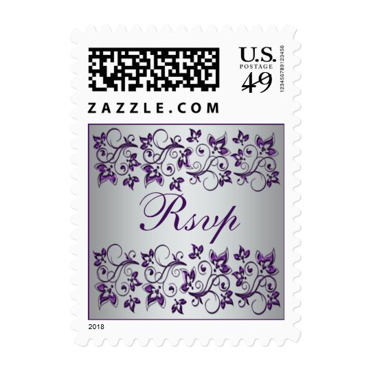 Purple Silver Gray Floral Wedding RSVP Postage