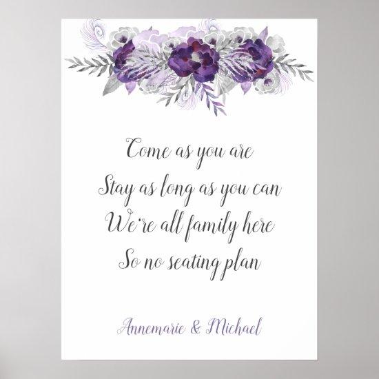 Purple Silver Gray No Seating Plan Wedding Sign