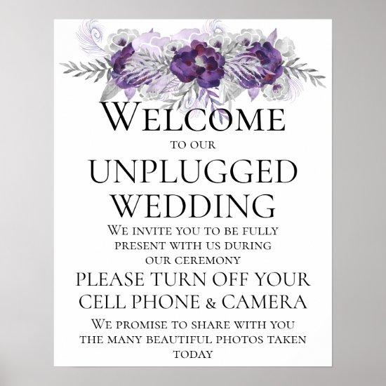 Purple Silver Gray Unplugged Wedding CeremonySign Poster