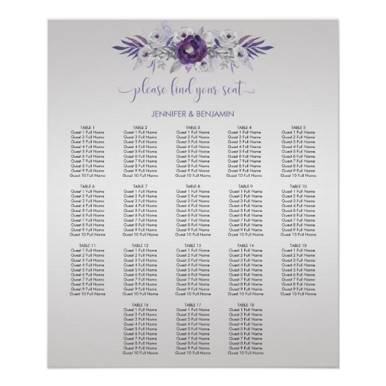 Purple Silver Gray Watercolor Floral Seating Chart