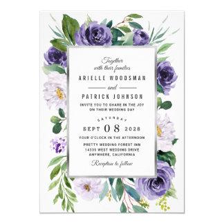Purple Silver Gray Watercolor Floral Wedding Invitation