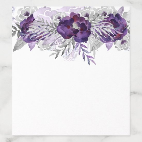 Purple Silver Gray Watercolor Flowers on White Envelope Liner