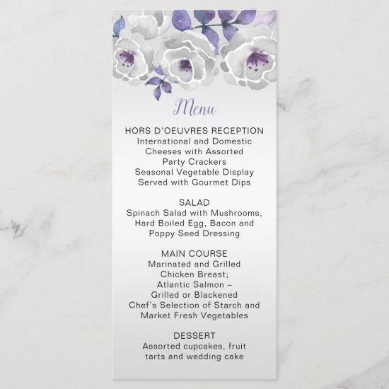 Purple Silver Gray Watercolor Roses Menu |