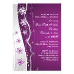 Purple silver grey snowflake wedding bridal shower invite