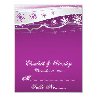 Purple, silver grey snowflake wedding place card announcements