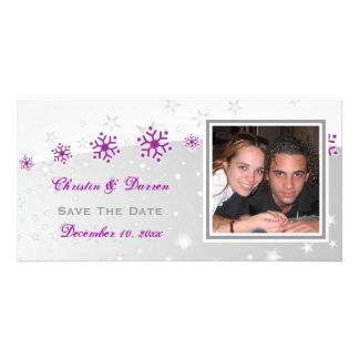 Purple silver grey snowflake wedding Save the Date Card