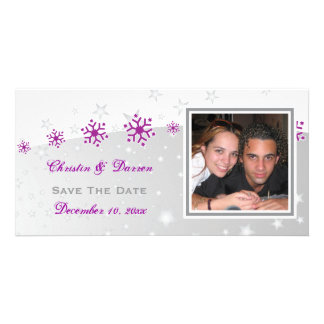 Purple silver grey snowflake wedding Save the Date Photo Card Template