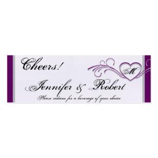 Purple Silver Heart Monogram Wedding Drink Tickets Mini Business Card