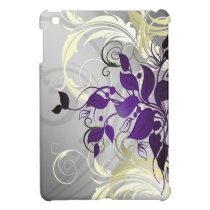 purple silver leaves girly Ipad case