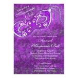 Purple Silver Mardi Gras Masquerade Ball Party Invites
