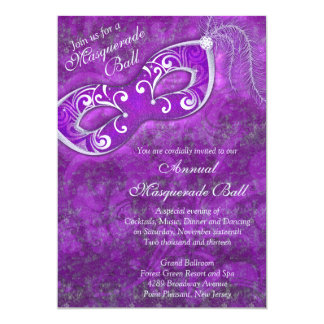 Purple Silver Mardi Gras Masquerade Ball Party 5x7 Paper Invitation Card