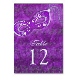 Purple Silver Masquerade Ball Mardi Gras Wedding Table Card