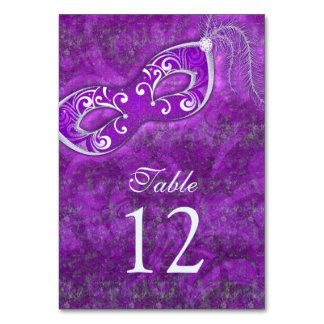 Purple Silver Masquerade Ball Mardi Gras Wedding Table Cards