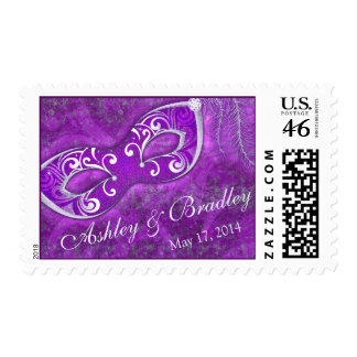 Purple Silver Masquerade Mardi Gras Wedding Postage