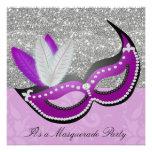 Purple & Silver Masquerade Party Venetian Mask Custom Invitation