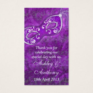 Purple Silver Masquerade Wedding Favour Tags