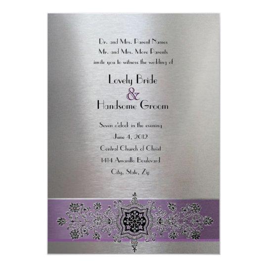 Purple Silver Metallic Eiffel Tower Wedding Invite