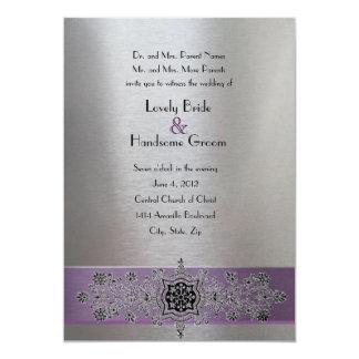 "Purple Silver Metallic Eiffel Tower Wedding Invite 5"" X 7"" Invitation Card"