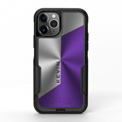 Purple & Silver Modern Geometric Design OtterBox Commuter iPhone 11 Pro Case