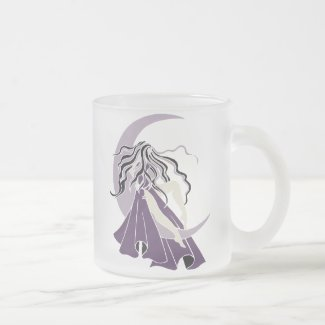 Purple Silver Moon Goddess Frosted Glass Coffee Mug