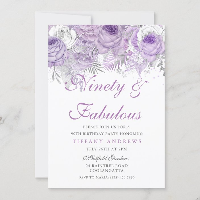 Black White Silver Purple Flower 90th Personalised Birthday Party Invitations