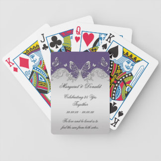 Purple Silver Ornate Butterflies 25th Anniversary Bicycle Playing Cards
