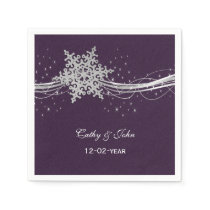 purple Silver  personalized wedding napkin