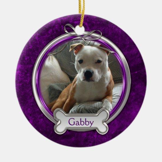 Purple Silver Ribbon Pet Photo Christmas Ornament