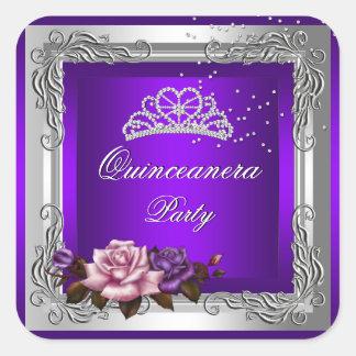 Purple Silver Roses Quinceanera 15th Birthday Square Sticker